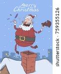 christmas card of funny santa... | Shutterstock .eps vector #759355126