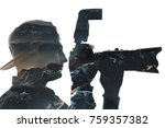 double exposure of a young male ... | Shutterstock . vector #759357382