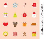 christmas flat icons | Shutterstock .eps vector #759363862