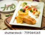 grilled salmon with garlic and... | Shutterstock . vector #759364165