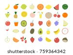 complete set of fruit icons.... | Shutterstock .eps vector #759364342