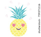 pineapple with glasses tropical ... | Shutterstock .eps vector #759371116