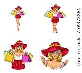 set of vector pop art round... | Shutterstock .eps vector #759378385