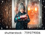 on christmas night an adorable... | Shutterstock . vector #759379006