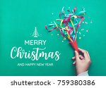 merry christmas with hand... | Shutterstock . vector #759380386