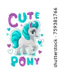 little pretty pony girl. vector ... | Shutterstock .eps vector #759381766