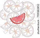 slice of ripe grapefruit on a... | Shutterstock . vector #759382852