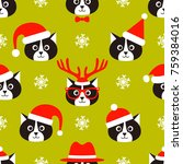 seamless pattern with cats and... | Shutterstock .eps vector #759384016