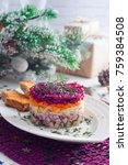 Stock photo traditional new year s salad herring under the fur coat in russia selective focus 759384508