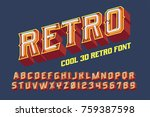 3d vintage letters with neon... | Shutterstock .eps vector #759387598