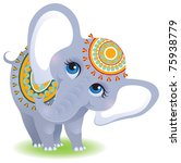 Stock vector indian elephant cute animal character isolated on white background 75938779