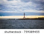 lonely lighthouse in the sea   Shutterstock . vector #759389455