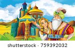 cartoon scene with king and... | Shutterstock . vector #759392032