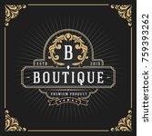 vintage luxury monogram banner... | Shutterstock .eps vector #759393262