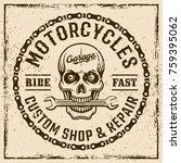 motorcycles custom shop vintage ... | Shutterstock .eps vector #759395062