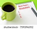 pen and notepad with a cup of... | Shutterstock . vector #759396352