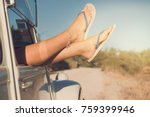 girl's legs in a retro car  at... | Shutterstock . vector #759399946