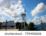 big cement water storage tank | Shutterstock . vector #759400606