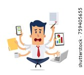 businessman stressed while... | Shutterstock .eps vector #759405655