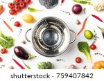 Top View Of Colander Among...