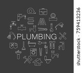plumbing objects and tools... | Shutterstock . vector #759413236