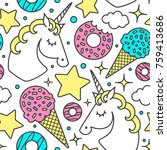 seamless pattern with unicorn ... | Shutterstock .eps vector #759413686