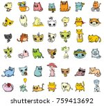 big set of vector cute funny... | Shutterstock .eps vector #759413692