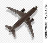 airplane silhouette top view.... | Shutterstock .eps vector #759415642