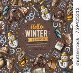 cartoon vector doodles winter... | Shutterstock .eps vector #759425212