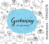 giveaway. like and repost.... | Shutterstock .eps vector #759425278