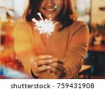 asian woman holding firework in ... | Shutterstock . vector #759431908