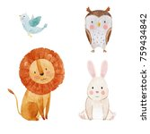 Stock photo set of cute watercolor illustrations of animals isolated object on white background cute lion 759434842