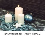 White Candles And Blue Cristma...