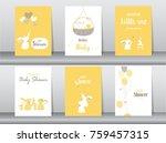 set of baby shower invitations... | Shutterstock .eps vector #759457315