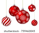 red christmas balls with... | Shutterstock .eps vector #759463045