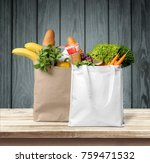 shopping  groceries  bags. | Shutterstock . vector #759471532