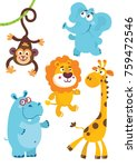 set of cute african animals for ...   Shutterstock .eps vector #759472546