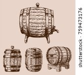 wooden barrel vintage old style ... | Shutterstock .eps vector #759473176