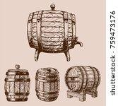 wooden barrel vintage old style ... | Shutterstock .eps vector #759473176
