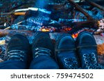 travelers hiking boots near the ... | Shutterstock . vector #759474502