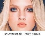beautiful woman blonde red lips ... | Shutterstock . vector #759475036