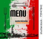 Italian Menu Vector Template, with a view of Venice