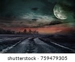 country road through the fields ... | Shutterstock . vector #759479305