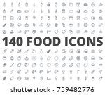 Food line icon Bakery fast food fruits and vegetables breakfast drinks | Shutterstock vector #759482776