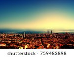 city bird view after sunset  ... | Shutterstock . vector #759483898