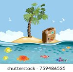 paradise island with fish and...   Shutterstock .eps vector #759486535