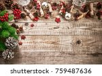 christmas card with firtree...   Shutterstock . vector #759487636