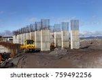 industrial building  foundation ... | Shutterstock . vector #759492256