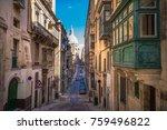 street of valletta with... | Shutterstock . vector #759496822