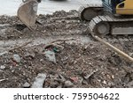 excavator demolishing concrete... | Shutterstock . vector #759504622